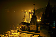 Money Sharma Framed Prints - Varanasi at night Framed Print by Money Sharma