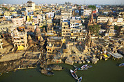 Cremation Photos - Varanasi, Cremation Gahts, Ganges River by Nicolas Chorier
