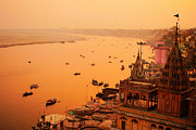 Money Sharma Framed Prints - Varanasi during dusk Framed Print by Money Sharma