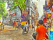 Crowd Scene Digital Art - Varanasi Intersection by Digital Photographic Arts