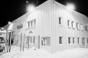 Havn Prints - Vardo Port And Warehouse Building At Night In Winter Finnmark Norway Europe Print by Joe Fox