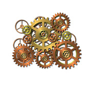 Industrial Background Digital Art Posters - Various Gears Poster by Michal Boubin
