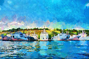 Various Painting Framed Prints - Various ships in Sevastopol painting Framed Print by Magomed Magomedagaev