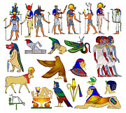 Tourism Drawings Prints - Various themes of ancient Egypt Print by Michal Boubin