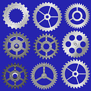 Mechanics Digital Art Metal Prints - Various Vector Gears Metal Print by Michal Boubin