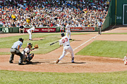 Red Sox Metal Prints - Varitek at bat 2 Metal Print by Dennis Coates