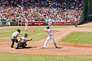 Red Sox Metal Prints - Varitek at bat Metal Print by Dennis Coates