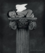 Black-and-white Posters - Varjanare as an Angel Poster by Anne Geddes