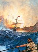 Vasco Da Gama's Ships Rounding The Cape Print by English School
