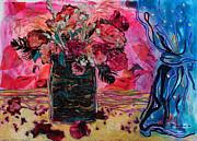 Diane Fine - Vase and Blue Curtain