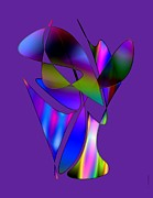 Vase And Flowers In Abstract Designs Print by Mario  Perez