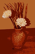 Screen Print Digital Art Framed Prints - Vase and Flowers Still life Framed Print by Laurie Pike