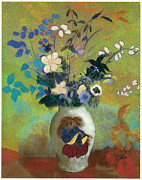Redon Framed Prints - Vase au Guerrier Japonais Framed Print by Odilon Redon