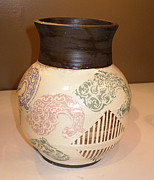 Featured Ceramics Originals - Vase Brown Fractol by John Rhodes