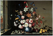 Carnation Painting Metal Prints - Vase of Flowers by a Window Metal Print by Balthasar Van Der Ast
