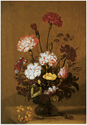 Carnation Painting Metal Prints - Vase of Flowers Metal Print by Hans Bollongier