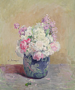 Vase Of Flowers Painting Prints - Vase of Flowers Print by Henri Lebasque