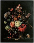 English Rose Posters - Vase of Flowers Poster by Jacob Van Walscapelle
