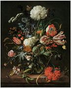 Red White Blue Paintings - Vase of Flowers by Jan Davidsz De Heem