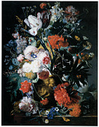 Vivid Colorful Flowers Prints - Vase of Flowers Print by Jan Van Huysum