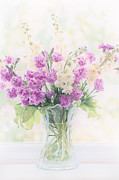 Country Cottage Digital Art Posters - Vase of Flowers Poster by Natalie Kinnear
