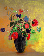 Vase Painting Metal Prints - Vase of Flowers Metal Print by Odilon Redon