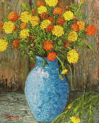 Impressionistic Oil Paintings - Vase of Marigolds by Darice Machel McGuire