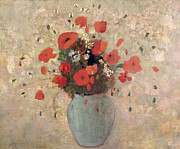 Vase Painting Metal Prints - Vase of poppies Metal Print by Odilon Redon