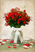 Red Ribbon Digital Art - Vase of Red Roses by Lena Auxier