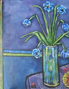 Vase With Blue Flowers And Cherries Print by Chaline Ouellet