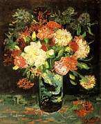 Carnations Paintings - Vase with Carnations 1886 by Vincent Van Gogh