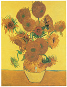Sunflowers Paintings - Vase with Fifteen Sunflowers by Vincent Van Gogh