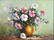 Romania Paintings - Vase with Petunias by Petrica Sincu
