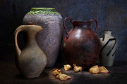Pottery Pitcher Metal Prints - Vases and Urns Still Life Metal Print by Tom Mc Nemar