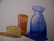 Vase Pastels Prints - Vases with colur Print by Tamar Williams