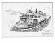 Pair Drawings Prints - Vashon Ferry Washington State Ferry System Print by Jack Pumphrey