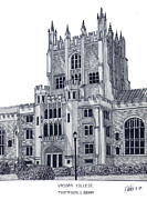 University Buildings Images Posters - Vassar College Poster by Frederic Kohli