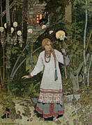 Horror Metal Prints - Vassilissa in the Forest Metal Print by Ivan Bilibin