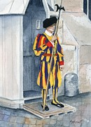 Swiss Painting Originals - Vatican Guard by Marsha Elliott