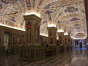 Tiled Ceiling Prints - Vatican Museum Vaulted Ceiling Artwork Print by Deborah Smolinske