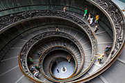 Spiral Staircase Metal Prints - Vatican Spiral Staircase Metal Print by Inge Johnsson