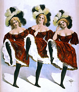 Good Time Framed Prints - Vaudeville Dancing Girls  1899 Framed Print by Daniel Hagerman