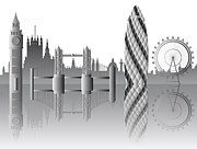 London Skyline Digital Art Prints - vector London skyline Print by Michal Boubin