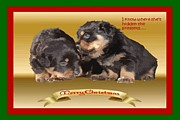 Puppies Digital Art - Vector Rottweiler Puppy Christmas Wishes by Tracey Harrington-Simpson