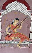 Playing Music Painting Originals - Veena player by Prasida Yerra