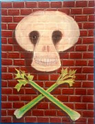 Raw Pastels Posters - Vegan Skull and Cross Bones Poster by R Neville Johnston