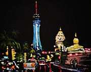 Vegas At Night Print by John Malone