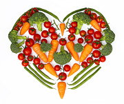 Green Beans Posters - Vegetable heart Poster by Rosemary Calvert