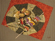 Fabric Collage Tapestries Textiles Posters - Vegetable Kabobs Poster by Lynda K Boardman