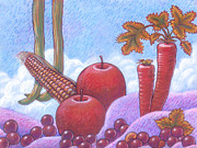 Apple Art Pastels Posters - Vegetable Landscape Poster by Renu K